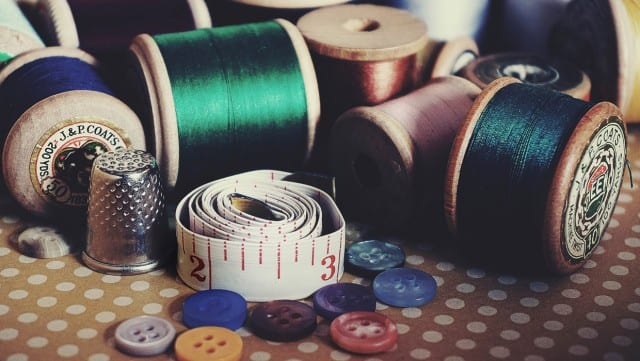 Sewing supplies on a table