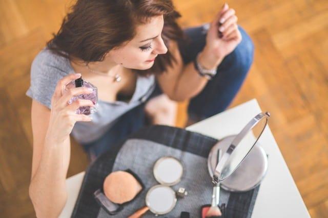 women testing makeup