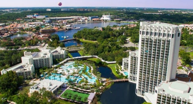 Aieral view of a Disney hotel property