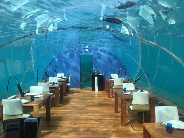the underwater restaurant at the Conrad Maldive