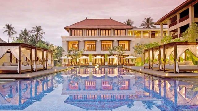 The Conrad Bali Hilton at sunset