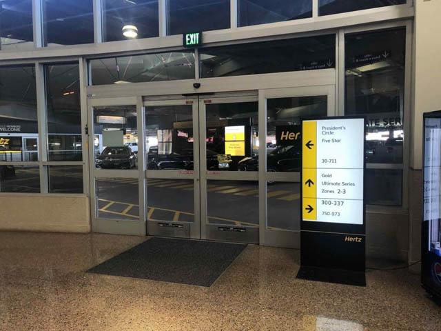 the entry doors of Hertz rent a car
