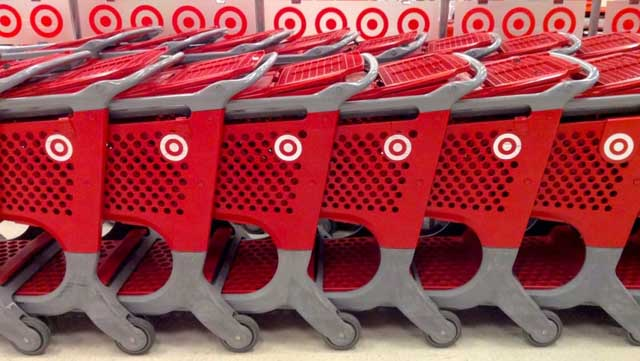 a row of Target shopping carts