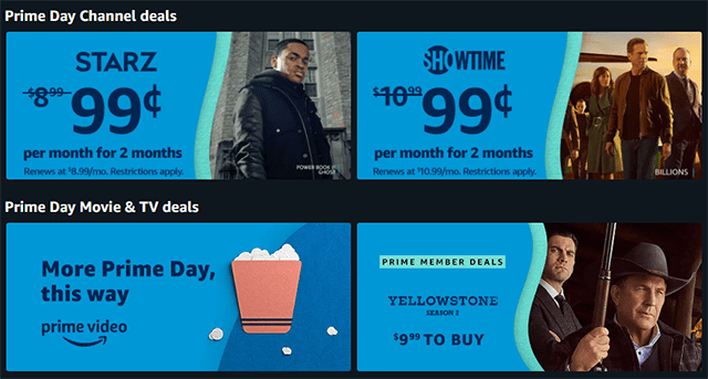 Amazon Prime Day Channel deals, Starz, Showtime