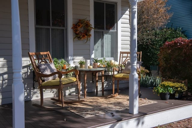 wood patio chat set