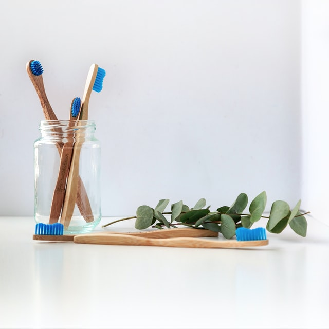blue bristle bamboo toothbrushes