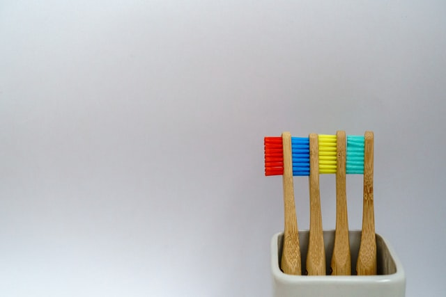 colorful bamboo toothbrushes