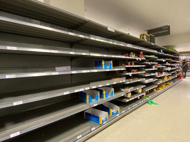 empty shopping shelves