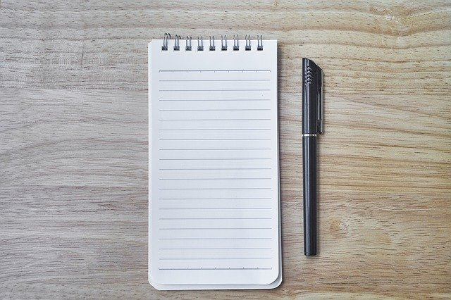paper pad and pen
